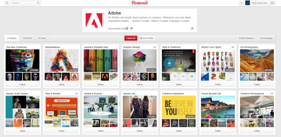 The Adobe Pinterest Page
