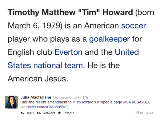 Tim Howard is the American Jesus