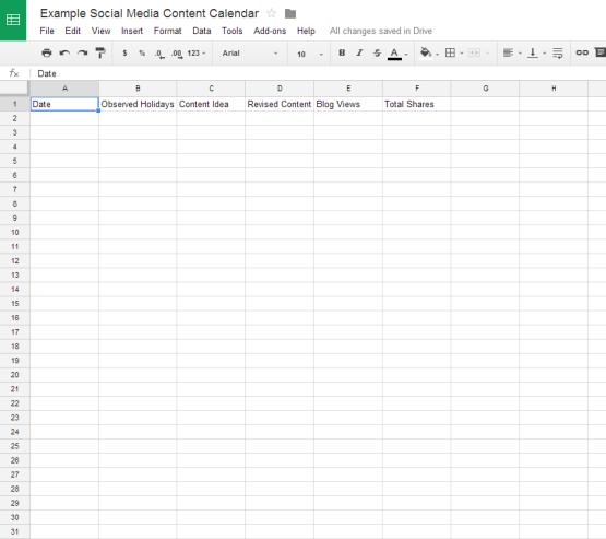 Social Media Content Calendar Columns