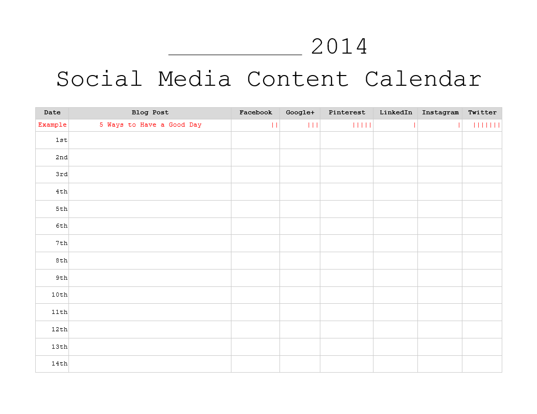 Monthly Content Calendar Template : Free monthly content marketing calendars printable