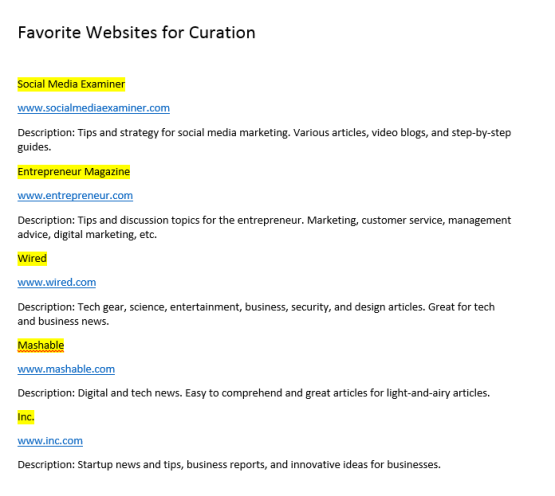 Website Curation List