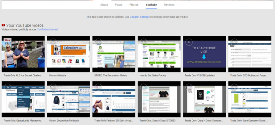 YouTube Section of Google+ Profile